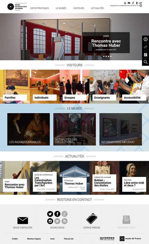 Page d'accueil du site internet Musée des beaux-arts de Rennes