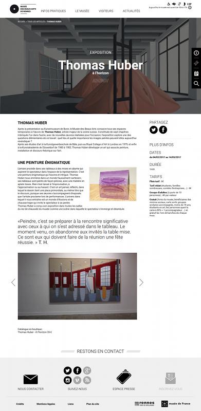 Page Thomas Huber - Site internet du Musée des beaux-arts de Rennes
