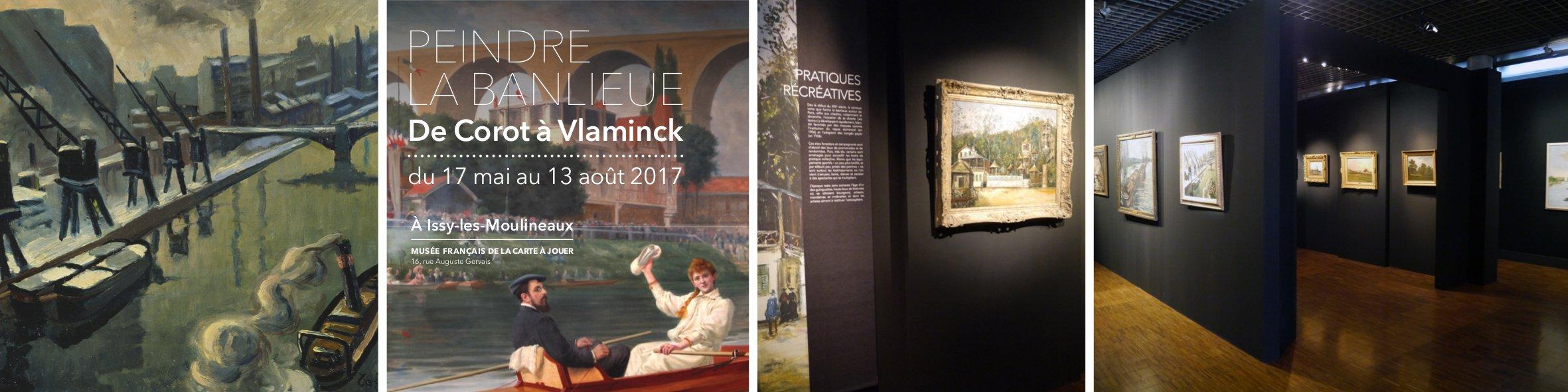 """""""Peindre la banlieue. De Corot à Vlaminck"""", exposition du 17 mai au 13 août 2017, Musée Français de la Carte à Jouer, Issy-les-Moulineaux. ©Agence Point de Fuite"""