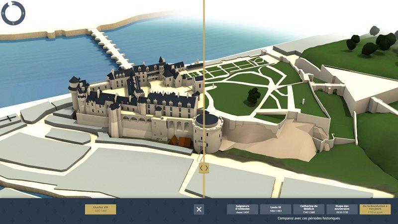 Application multimédia sur la reconstitution historique des étapes clés de l'histoire de Château d'Amboise. Conception : Cent Millions de Pixels et MG Design.©MG Design