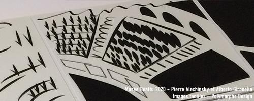 Détail de l'image visio-tactile, interprétation de l'œuvre de Pierre Alechinsky et Alberto Gironella au musée Réattu.