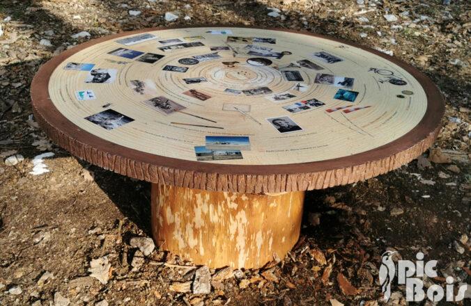PIC BOIS - Table de lecture avec frise chronologique